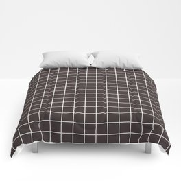 Black coffee - grey color - White Lines Grid Pattern Comforters