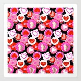 Crazy Hearts Art Print