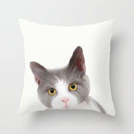 Cat with Yellow Eyes Throw Pillow