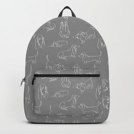 Basset Hounds Pattern on Grey Background Backpack
