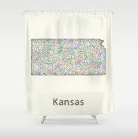 kansas Shower Curtains featuring Kansas map by David Zydd