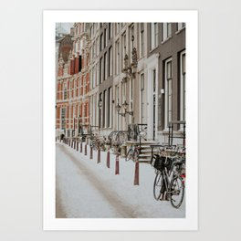 "Snow at The Canals Amsterdam | Fine art photo print from the series ""Amsterdam during Winter"" Art Print"