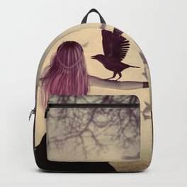 Dark foggy scene with witch woman with crows Backpack