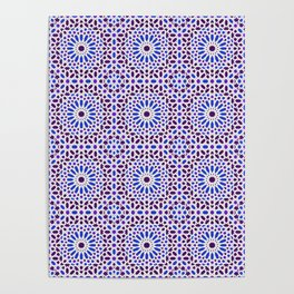 -A16- Traditional Blue Moroccan Tile Pattern. Poster