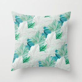 Silver and emerald leaf pattern Throw Pillow