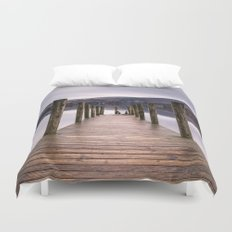 Lake View with Wooden Pier Duvet Cover