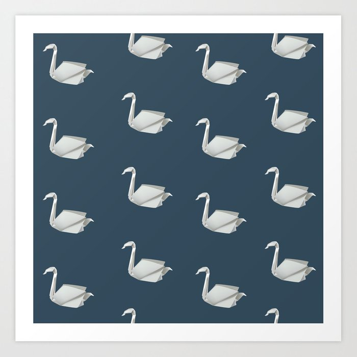 White Blue Origami Swan Pattern Art Print By Shadowisper Society6