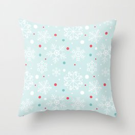Christmas Snowflakes with Red and Blue Polka Dots Pattern Throw Pillow