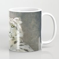 snow leopard Mugs featuring Snow Leopard by Pauline Fowler ( Polly470 )