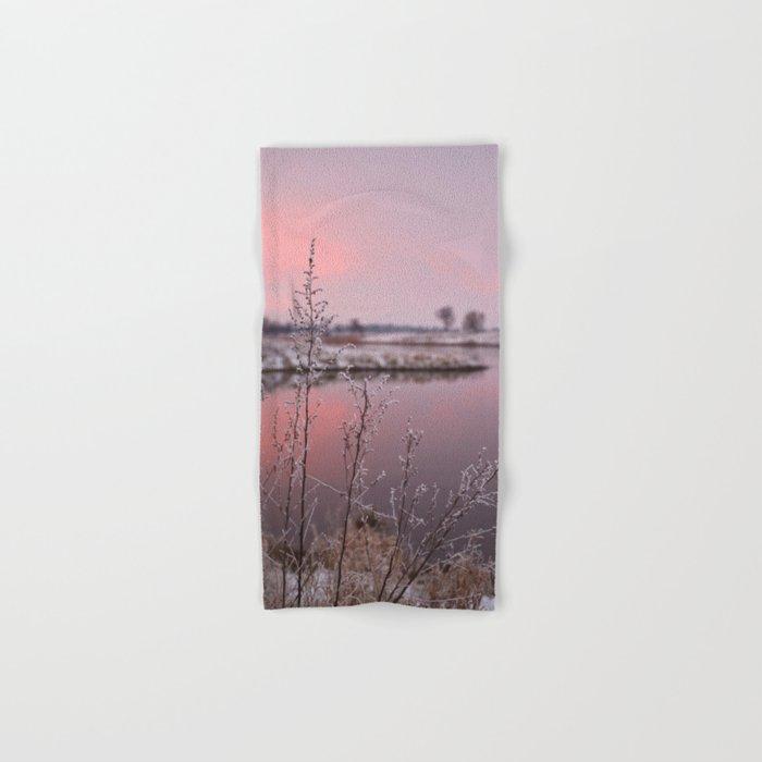 Winter Sunset At River Bank Hand & Bath Towel