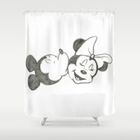 minnie Shower Curtains featuring Mickey & Minnie Kiss by Chelsea Lefevre
