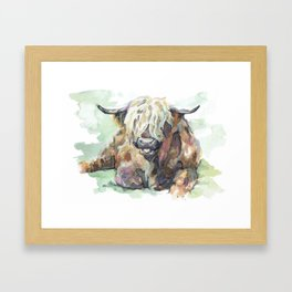 Brian the Highland Bull Illustration Framed Art Print