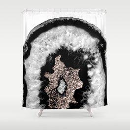 Gray Black White Agate Glitter Glamor #5 #gem #decor #art #society6 Shower Curtain