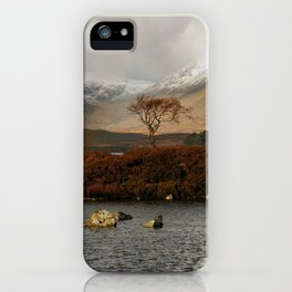 Lone Tree and Dusting of Snow in Mountains of Scotland iPhone Case