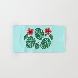 Hibiscuses and Palm Leaves Hand & Bath Towel
