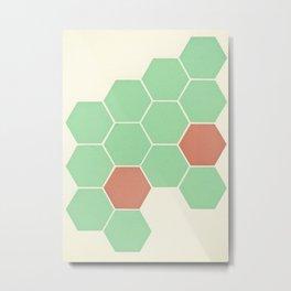 Mint Honeycomb Metal Print