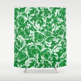 Green Swirls Shower Curtain