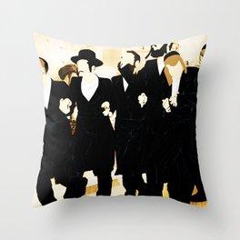 Hasidim dancing in the street Throw Pillow