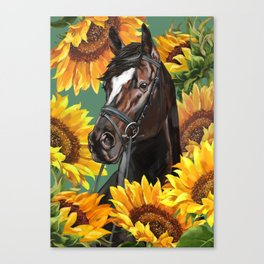 Horse with Sunflowers Canvas Print