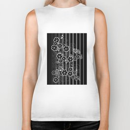Abstract white and black flowers with background Biker Tank