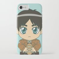 shingeki no kyojin iPhone & iPod Cases featuring Shingeki no Kyojin - Chibi Eren Flats by Tenki Incorporated