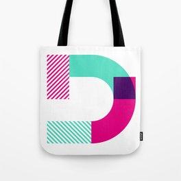 Rotation Alphabet 'D' On White Tote Bag