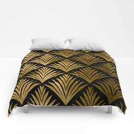 Luxurious Black and Gold Art Deco Elegant Pattern Comforters