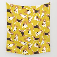 beagle Wall Tapestries featuring beagle scatter yellow by Sharon Turner