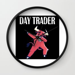 Stock Exchange Capitalism Daytrader Dabbing Bull Wall Clock
