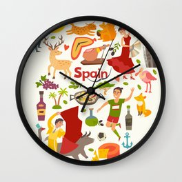 Spain map vector, contour. Illustrated map of Spain for children Wall Clock