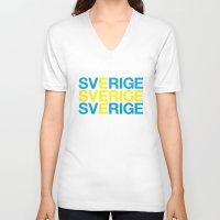 sweden V-neck T-shirts featuring SWEDEN by eyesblau