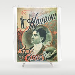 Houdini, king of cards, vintage poster Shower Curtain