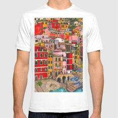 Manarola, Italy  MEDIUM Mens Fitted Tee White