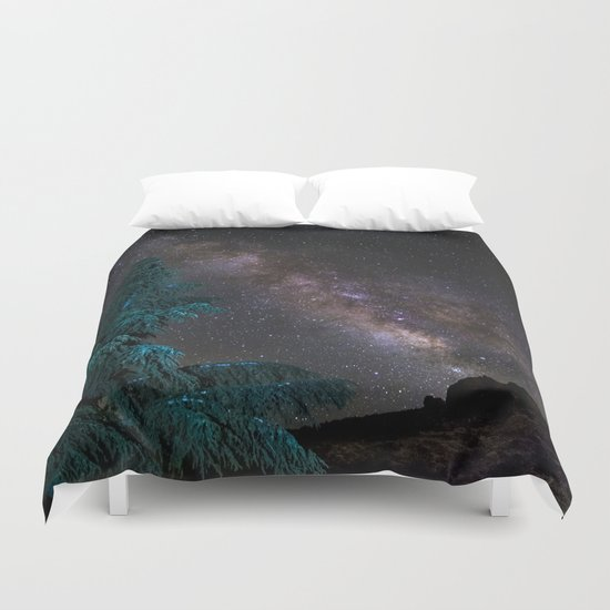 """Milky-way at the mountains"". Summer  Duvet Cover"