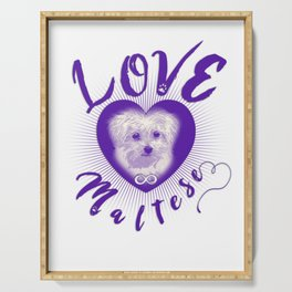 Maltese Dog Puppy Endless Love pu Serving Tray