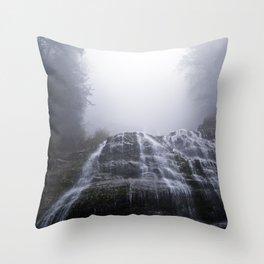 Morning Fog At Bridal Falls Throw Pillow
