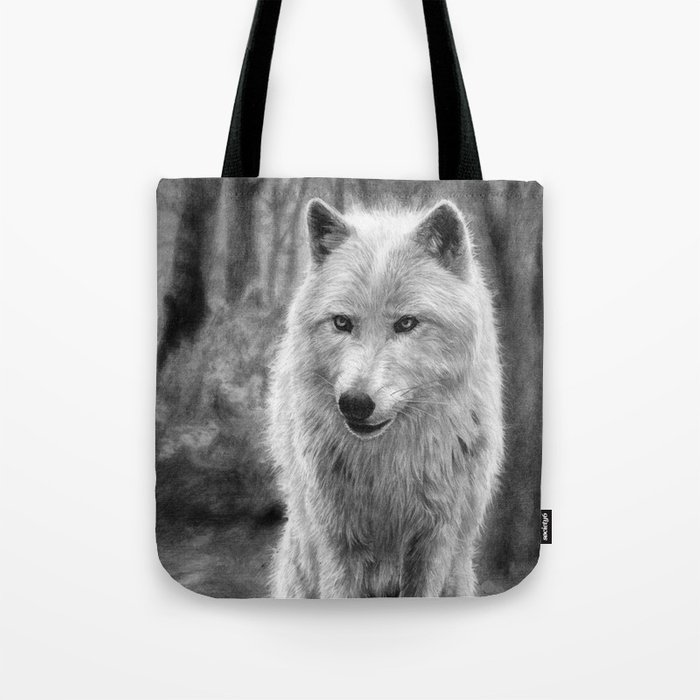 White Wolf in the Forest Tote Bag