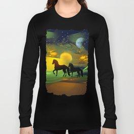 Awakening, Mysterious mixed media art with horses Long Sleeve T-shirt