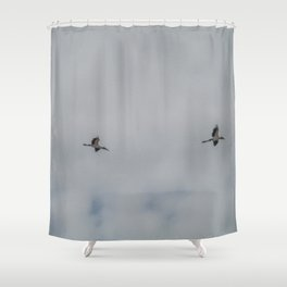 Woodstorks in Flight Shower Curtain