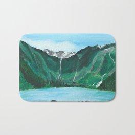 Avalanche Lake Mountain Waterfall Art Bath Mat