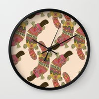 platypus Wall Clocks featuring duck-billed platypus linen by Sharon Turner