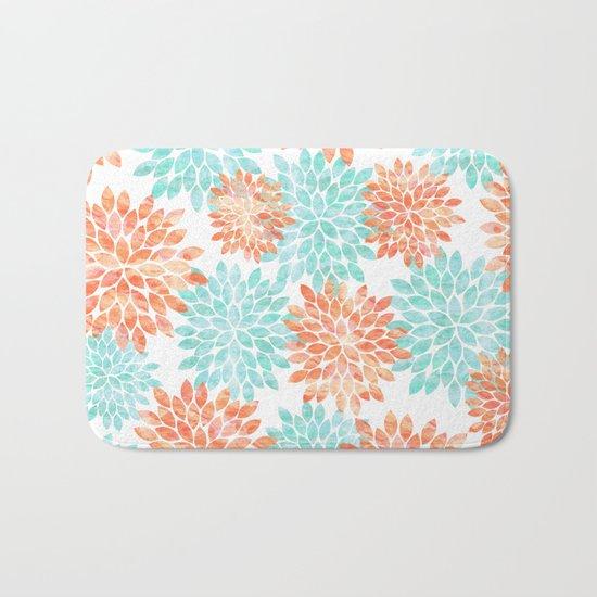 aqua and coral flowers Bath Mat