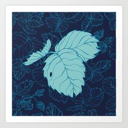 Blue Strawberry Leaves Art Print
