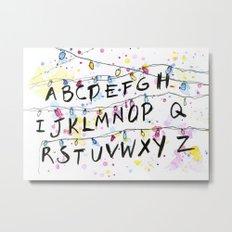 Stranger Things Alphabet Wall Christmas Lights Typography Metal Print