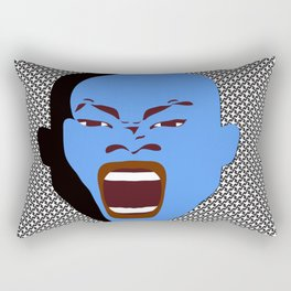 blue man head design digital art male face shouts zollione store art Rectangular Pillow