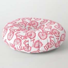 roule ma poule - wanna ride my bicycle red Floor Pillow