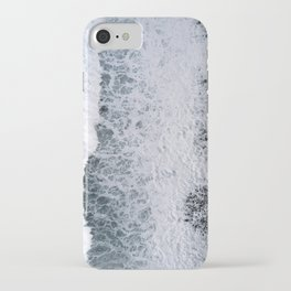 Aerial of a Black Sand Beach with Waves - Oceanscape iPhone Case