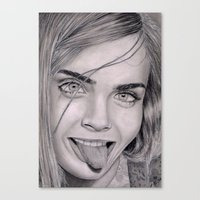 cara delevingne Canvas Prints featuring Cara Delevingne by Eliya Haliwa