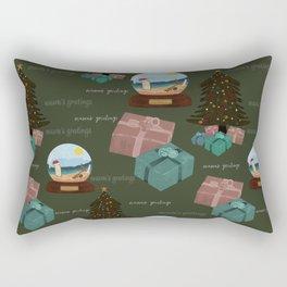 Aussie Christmas Green Pattern Rectangular Pillow