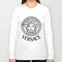 versace Long Sleeve T-shirts featuring Versace Noir by Goldflakes
